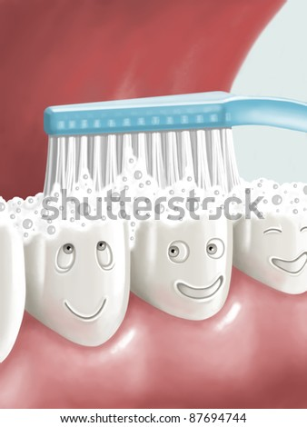 Brushing teeth - stock photo