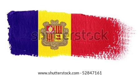 Brushstroke Flag Andorra - stock photo