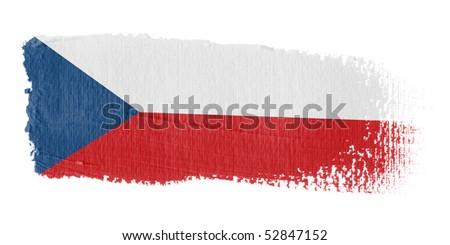 Brushstroke flag Czech Republic - stock photo
