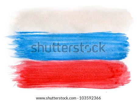 Brushstroke Flag of Russia - stock photo