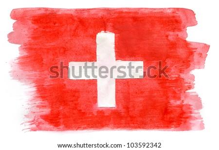 Brushstroke Flag of Switzerland - stock photo