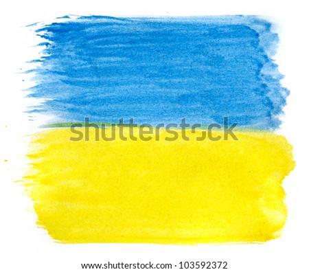 Brushstroke Flag of Ukraine - stock photo