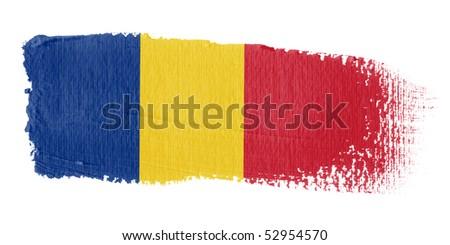 Brushstroke Flag Romania - stock photo