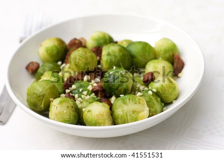 brussel sprout with bacon - stock photo