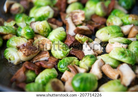Brussel Sprouts Sauteed with Bacon and Mushrooms
