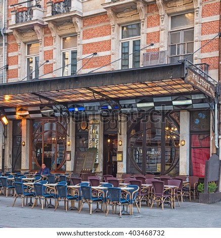 BRUSSELS - APRIL 4, 2016: Art deco cafe in Brussels, near to Grand Place on 4 April, 2016. Brussels is famous for its art nouveau buildings. - stock photo