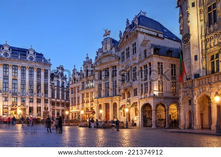 BRUSSELS - APRIL 21: Evening scene with the guild houses in the Grand Place (Grote Markt) in Brussels, Belgium on April 21, 2012. - stock photo
