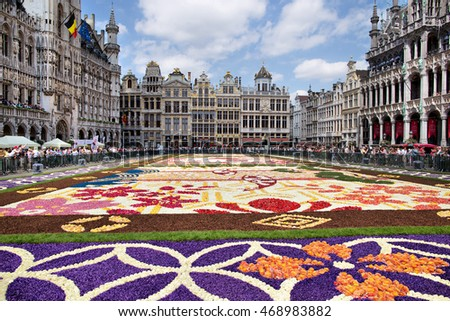BRUSSELS - AUGUST 15:The Flower Carpet 2016 edition with Japanese theme in Grand Place on August 15, 2016 in Brussels.Contains a million colorful begonias and is organized in Brussels every two years.