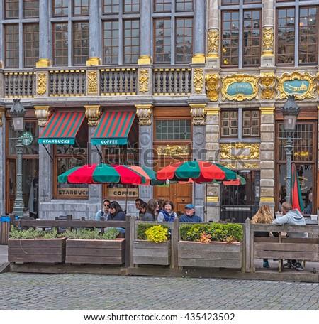 BRUSSELS, BELGIUM - 24 APRIL, 2016: The famous Grand Place in Brussels, Belgium on 24 April, 2016. - stock photo