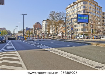 BRUSSELS, BELGIUM - APRIL 15, 2015: The Reyers viaduct in Brussels. Brussels Minister Pascal Smet suspended the works which started beginning July to make a new study because the costs have doubled. - stock photo