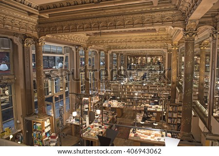 BRUSSELS, BELGIUM - 16 APRIL, 2016: Tropismes bookshop in Brussels, Belgium on 16 April, 2016. It is, since 1984, located in one of Brussels most beautiful places: The Galeries Royales Saint-Hubert. - stock photo