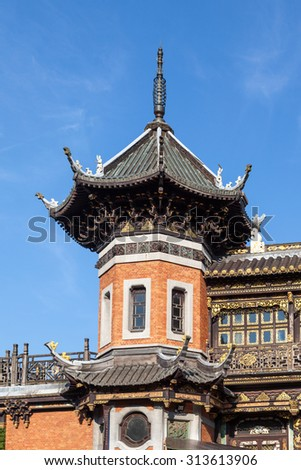 BRUSSELS, BELGIUM - AUG 22: Detail of the Chinese pavilion at the Museum of the Far East in Brussels. August 22, 2015 in Brussels, Belgium - stock photo