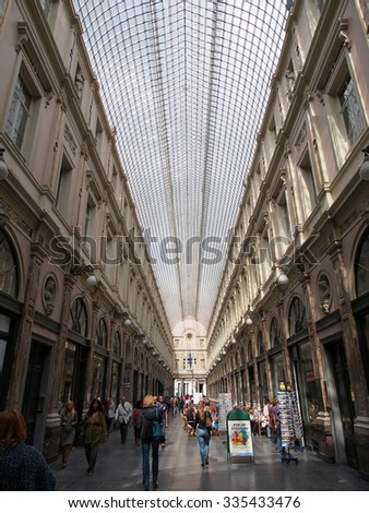 BRUSSELS, BELGIUM - AUG 13: Galeries Royales Saint-Hubert in Brussels, Belgium on August 13, 2013. Brussels is the capital of Belgium.
