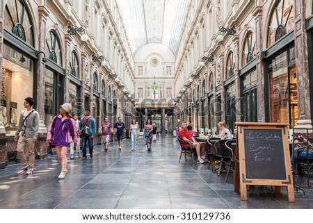 BRUSSELS, BELGIUM - AUG 22: The Galeries Royales Saint-Hubert or Galerie de la Reine in Brussels. August 22, 2015 in Brussels, Belgium - stock photo
