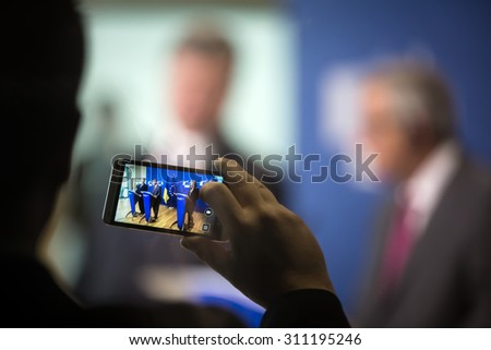 BRUSSELS, BELGIUM - Aug 27, 2015: Working moments of a joint press conference with President of Ukraine Petro Poroshenko and European Commission President Jean-Claude Juncker