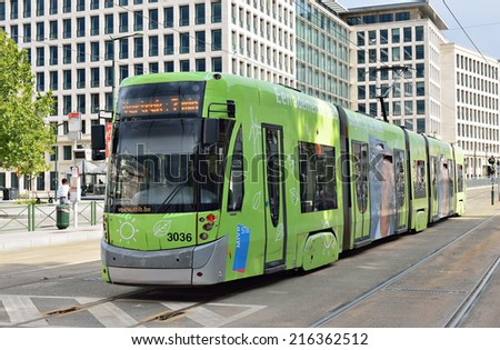 BRUSSELS, BELGIUM-AUGUST 20, 2014: Brussels tram arrive to Poelaert square. The tram system of Brussels has 19 lines, and the first horse powered line started in 1869 - stock photo