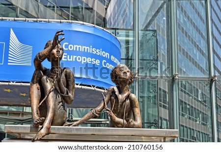 BRUSSELS, BELGIUM-AUGUST 05, 2014: Modern office of European Commission in European Quarter of Brussels
