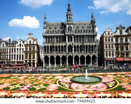 BRUSSELS, BELGIUM – AUGUST 14: The flower carpet with EU logo in the centre, honouring the Belgian presidency of the European Union on the Grand Place of Brussels, Belgium on August 14, 2010