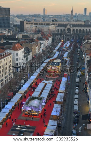 BRUSSELS, BELGIUM - DECEMBER 05 2016 - Aerial view of the Christmas Market in the Saint Catherine square as a part of the Winter Wonders and Christmas Market 2016