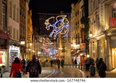 BRUSSELS, BELGIUM-DECEMBER 2: Christmas illumination of historical center on December 2, 2013 in Brussels, Belgium - stock photo