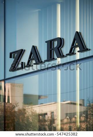 BRUSSELS, BELGIUM - DECEMBER 3, 2016: Zara logo from Brussels store