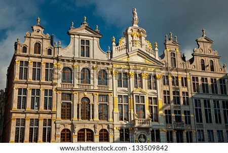 BRUSSELS, BELGIUM - FEBRUARY 9, : Houses of the famous Grand Place on February 9 2013, Brussels, Belgium. Grand Place was named by UNESCO as a World Heritage Site in 1998.