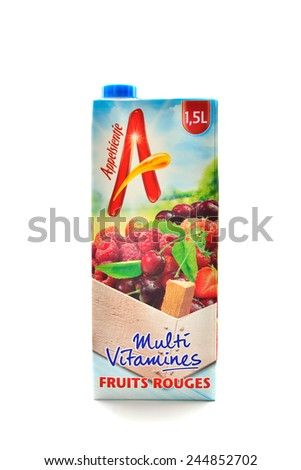 BRUSSELS, BELGIUM-JANUARY 16, 2015: Multivitamin drink produced by Appelsientje from red fruits isolated on white. Appelsientje was on the market from 1973 in Netherlands - stock photo