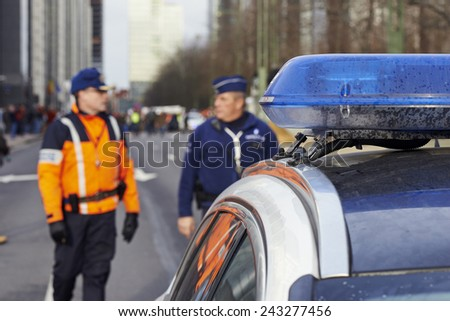 Brussels,Belgium- 11 january, 2015:The police services are ready to ensure the safety of the Brussels event Je suis Charlie in Brussels, Belgium on january 11, 2015 - stock photo