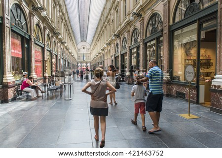 BRUSSELS, BELGIUM - JULY 4 2015: Detail of the Royal Saint Hubert Galleries, in the city center, the first commercial galleries of Europe. - stock photo
