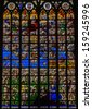 BRUSSELS, BELGIUM - JULY 26: Stained glass depicting the Last Judgement in the cathedral of Brussels, Belgium, on July 26, 2012.  - stock photo