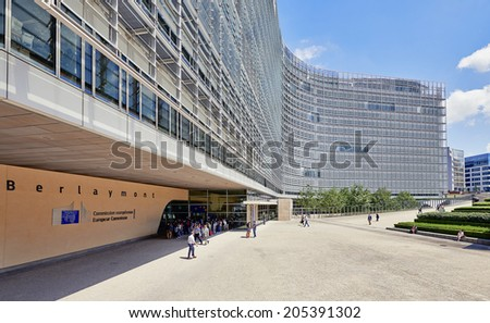 BRUSSELS, BELGIUM - JULY 16, 2014:The Berlaymont is an office building that houses the headquarters of the European Commission, which is the executive of the EU, on July 16 in Brussels - stock photo