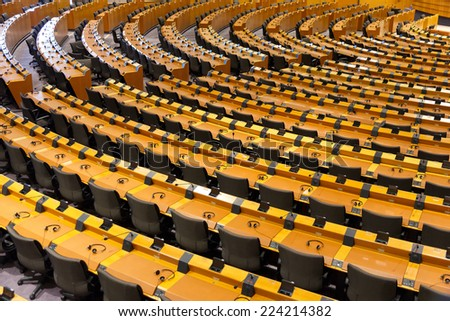 BRUSSELS, BELGIUM - JULY 30, 2014: The European Parliament Room (debating chamber) on July 30, 2014 in Brussels.  - stock photo