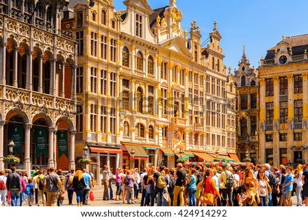 BRUSSELS, BELGIUM - JUNE 4, 2015: Grand Place (Grote Markt), the central square of Brussels, the UNESCO World Heritage - stock photo