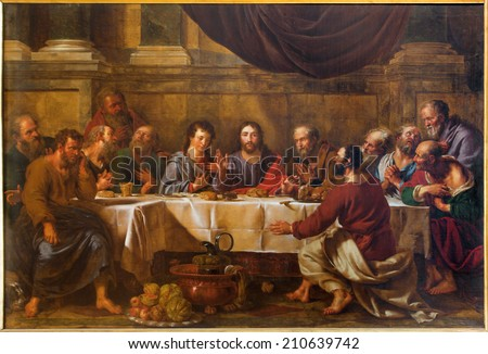 BRUSSELS, BELGIUM - JUNE 15, 2014: The Last supper of Christ by Guillaume Herreyns (1743 - 1827) in st. Nicholas church  - stock photo