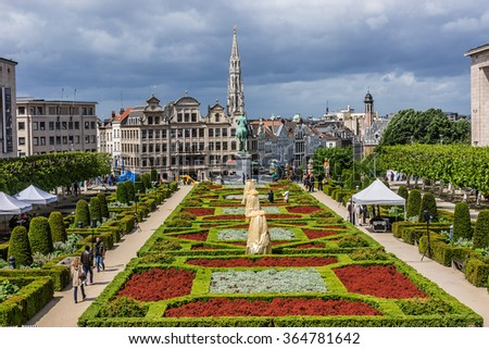 BRUSSELS, BELGIUM - MAY 11, 2014: Cityscape of Brussels. Brussels is the capital of Belgium and the administrative capital of the EU. - stock photo