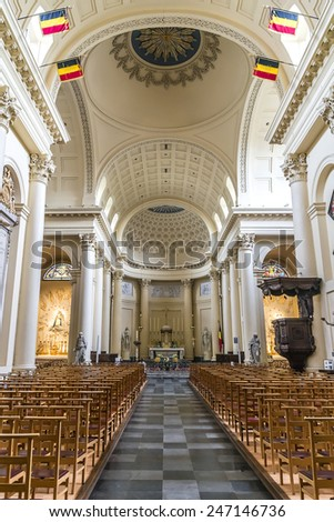 BRUSSELS, BELGIUM - MAY 11, 2014: Inferior of St Jacques at Coudenberg Church (Sint-Jacob-op-Koudenberg) - neoclassical church located in historic square of Place Royale.