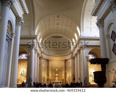 Brussels, Belgium, 4 May, 2016. Interior of Church of Saint Jacques-sur-Coudenberg at Place Royal in Brussels, Belgium on 4 May, 2016.