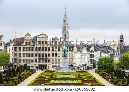 BRUSSELS, BELGIUM - MAY 20: Kunstberg or Mont des Arts (Mount of the arts) gardens as seen from the elevated vantage point on May 20, 2013 in Brussels, Belgium.