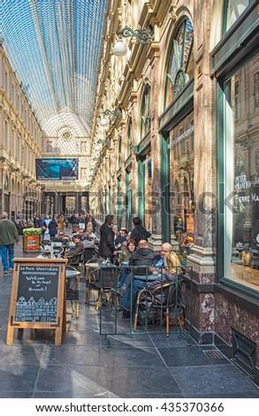 BRUSSELS, BELGIUM - MAY 1, 2016: The Galeries Royales Saint-Hubert or Galerie de la Reine in Brussels. May1, 2016 in Brussels, Belgium - stock photo