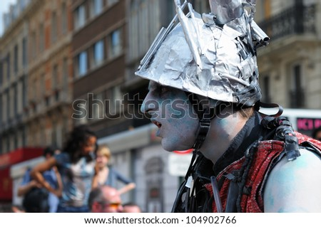 BRUSSELS, BELGIUM-MAY 19:  unknown participant plays role of zombie at Zinneke Parade on May 19, 2012 in Brussels. This parade is an artistic biennial urban free-attendance event. - stock photo