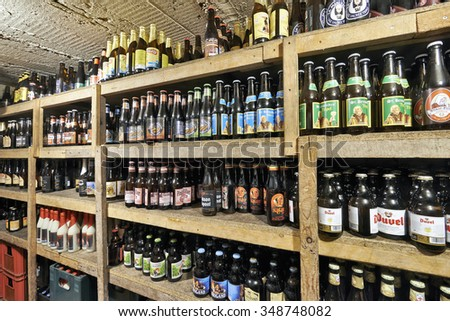 BRUSSELS, BELGIUM - OCTOBER 05, 2015:  Delirium Cafe known for its long beer list, standing at 2.004 different brands in January 2004 as recorded in the The Guinness Book of Records. - stock photo