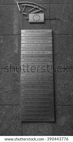 Brussels, Belgium - October 17, 2014: European Parliament, wrote in each language of the member states.