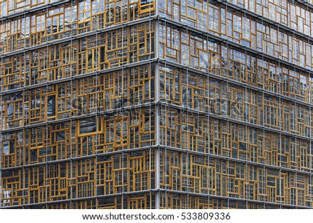 Brussels, Belgium - October 12, 2016: Facade of the Europa Building in Brussels, Belgium. It is the main seat of the European Council and the Council of the EU from 2017.