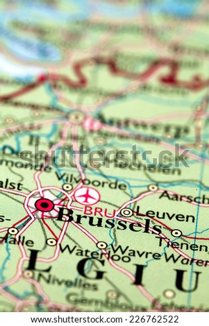 Brussels Belgium, on atlas world map - stock photo