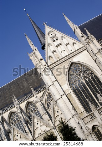 Brussels Cathedral Photo in tilted position Combination of multiple exposures - stock photo