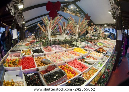 BRUSSELS - DECEMBER 28: Candy store in place Saint Catherine at Winter Wonders Christmas market on December 28, 2014 in Brussels.  - stock photo