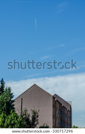 Brussels house, isolated on blue sky