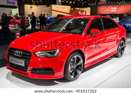 BRUSSELS - JAN 12, 2016: Audi A3 Berline on display at the Brussels Motor Show. - stock photo