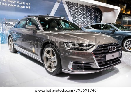 BRUSSELS   JAN 10, 2018: Audi A8 Car Presented At The Brussels Motor Show