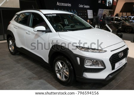 BRUSSELS - JAN 10, 2018: 2018 Hyundai Kona small SUV car showcased at the Brussels Motor Show.